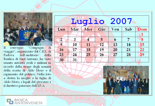 Calendario Luglio 2007.Archivio Fotografico Ipa Italia Sezione Di Padova
